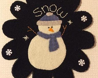 Snowman Wool Penny Rug
