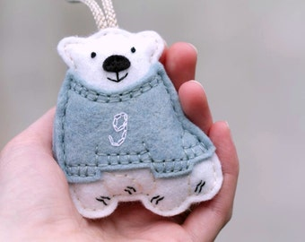 Baby's First Christmas Ornament. Personalized Felt Christmas Ornament. Polar Bear in Sweater Keepsake Ornament. Handmade by OrdinaryMommy