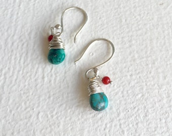 Natural turquoise and red coral earrings  in sterling silver