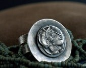 RESERVED  custom order Silver coin ring Athena Greek Goddess in recycled silver OOAK handmade artisan jewelry Eco friendly