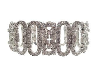 Art Deco Rhinestone Bracelet, 1920s Antique Art Deco Jewelry, Fine Jewelry, Wedding Bracelet, Designer Book Piece