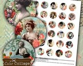 Rose Ladies Digital Collage Sheet 30mm Circle Images Burlesque Collage Sheet Flower Images Printable Collage Jewelry Supply Circle Images