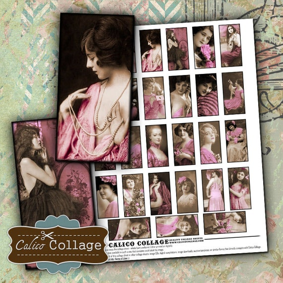 Touch of Pink Digital Collage Sheet 1x2 Inch Images for Pendants, Dominoes, Resin, Glass, Bezel Settings, Decoupage, Wood Tiles, Craft Paper