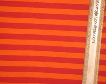 "Knit orange red 1/2"" stripes 1/2 yard cotton knit  lycra"