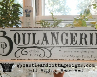Boulangerie French Bakery Vintage sign handpainted 26x8