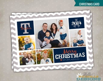 Chevron Multi Picture Christmas Card, Custom Modern Printable Holiday Greeting Card, Merry Christmas