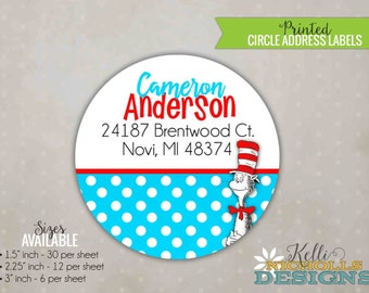 Personalized Cat in the Hat Circle Return Address Labels, Custom Polka Dot Dr. Seuss Stickers #B112