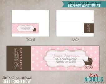 Vintage Pink Lace Baby Girl Shower Wrap Around Return Address Labels