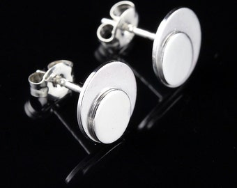 Overlapping Sterling Silver Dot Studs