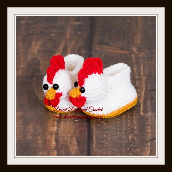 Chicken Baby Booties - 5 Sizes - Made To Order