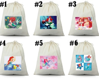12 Little Mermaid Ariel  Birthday Party Favor Candy Loot Treat Drawstring Bags