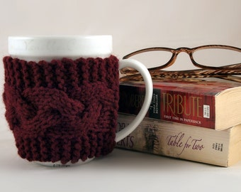 Clairet Hand Knit Coffee Mug Cozy Cable
