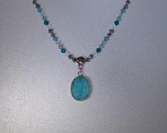 """Aqua Druzy Necklace with Swarovski Crystals - 19"""" Long"""