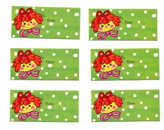Raggedy Ann Gift Tags Vintage Green Polk Dot Christmas 1970s Rag Doll Face Small Gift Cards  1 x 3 Set of 6 Vintage Christmas Paper