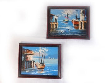 Small Maritime Oil Paintings Impressionist Vintage Sailing Boats Seascape Ships Boats Blue Water Nautical Textured 7 x 9 Blue Sky Dock Port