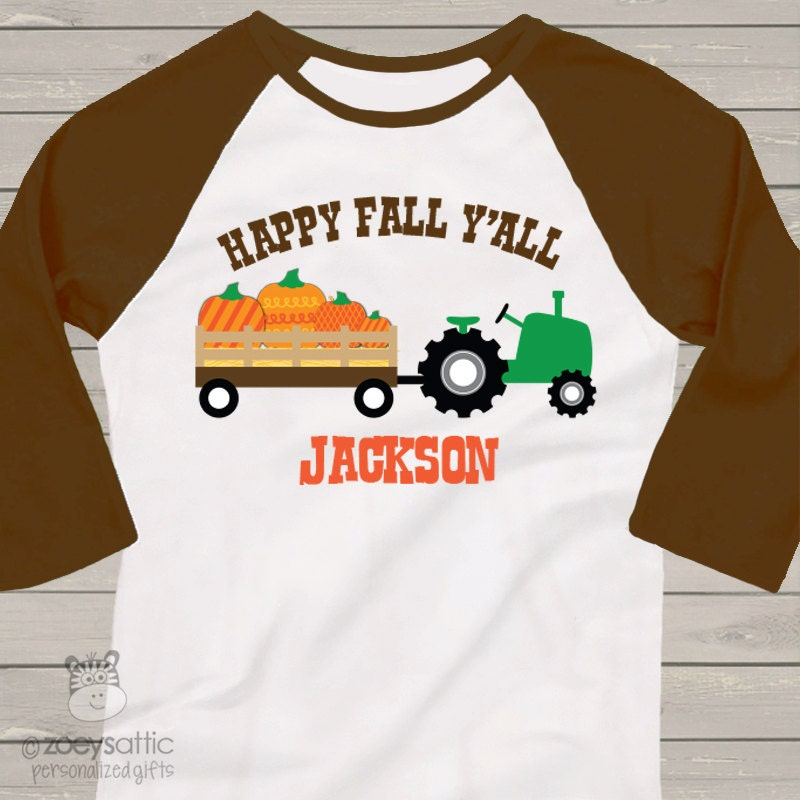Fall tractor kids personalized baseball raglan shirt for Custom raglan baseball shirt