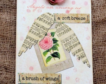 Angels Are Amoung Us Inspirational Gift or Scrapbook Tags or Magnet #396