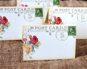 Wedding Place Cards Vintage Style Watercolor Rose Flower Postcard Tent Style Place Cards or Table Place Cards #138