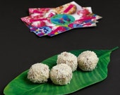 VALENTINE SALE A bag of 4 Raw Vegan Rawphaello coconut energy balls with sukkary caramel. Organic and no gluten or sugar