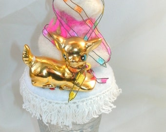 Gold Deer in Fantasy Land original ooak assemblage