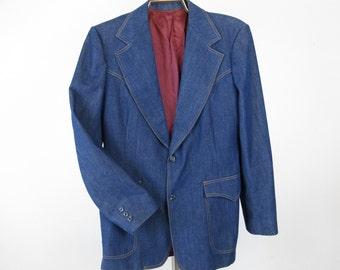 Vintage Mens Western Suit Jacket, Brushed Denim, Lee Brand, 42 L