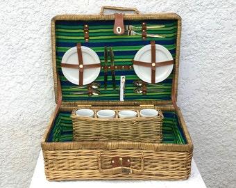 Vintage Large Suitcase Style Picnic Basket /Ceramic Plates, Mugs, Beachy Colors, Blue Striped Cotton Lining