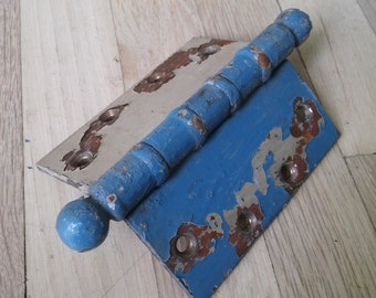 BLUE CHIPPY HINGE, Antique Hinge,Edwardian Door Hinge,Chippy Blue & WhitevHinge,Distressed Antique Hinge,Door Hardware,Antique Hardware