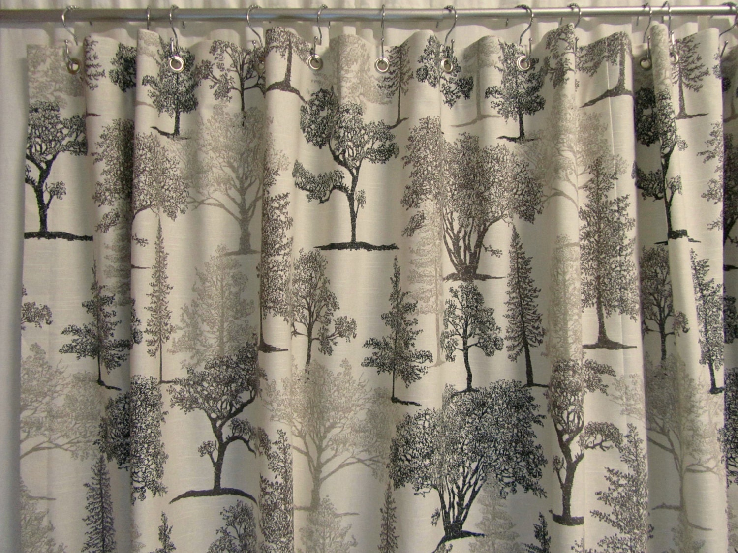 Shower Curtains: Rustic Shower Curtain Graphite Gray Shower Curtain Nature