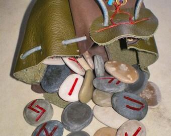 Lake Michigan Beach Stone Rune Set and Leather Pouch