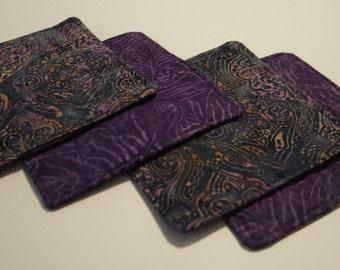 4 PC Reversible Coaster Set Purple Batik Fabric Home Decor, Mini Mat, Candle Mat, Ready to Ship