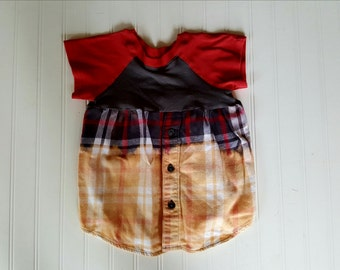 Little Girls size 2T  Dress Upcycled Distressed Flannel