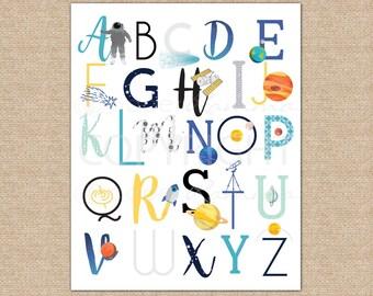 Space Nursery, Kids Wall Art, ABC, ABC Art, Baby Nursery Art, Space Nursery Decor, Wall Art // ArtPrint or Canvas // N-XC08-1PS AA1