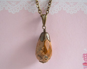 Picture Jasper Necklace, Antiqued Brass Chain, Natural Earthy Stone, Teardrop Japser Pendant