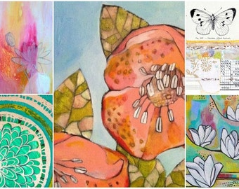 Cards- set of (5)- Blooming flower paintings/collage-blank greeting cards