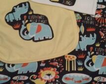 Jungle baby boy gift set lion tiger rhino snake elephant giraffe fish turtle onesie bib blanket navy yellow orange