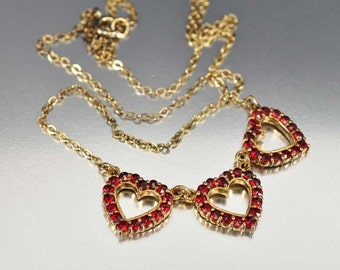Romantic Heart Garnet Necklace, Victorian Necklace, Gold Heart Necklace, Dainty Necklace, Antique Jewelry Garnet Pendant, Birthstone