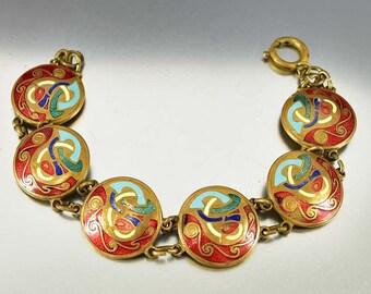Enamel Celtic Bracelet, Tara Ware Bracelet, Irish Arts & Crafts Style, Vintage Guilloche Enamel Panel Disc Link Bracelet, Brass Bracelet