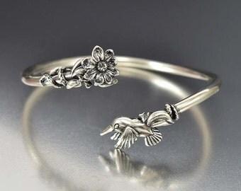 Sterling Silver Hummingbird Flower Art Deco Bracelet, ByPass Dainty Infinity Bracelet, Antique Jewelry, Bangle Bracelet, Gift For Gardener