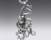Octopus Necklace - Steampunk Octopus Charm Silver - Kraken Jewelry Octopus Jewelry Steampunk jewelry