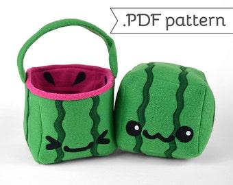 Square Watermelon Plush & Basket .pdf Sewing Pattern