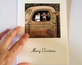 Funny Christmas Card - Goat Truck Driver - Merry Christmas - Handmade Stamped Card