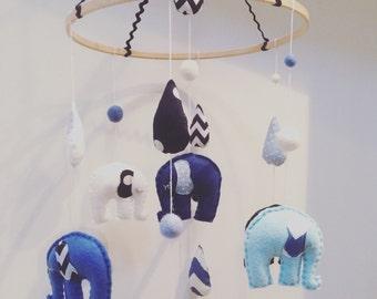 Blue & White Felt Elephant Mobile