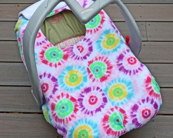 Tie Dye Baby Car Seat Cover, Geometric Circles, Pink Blue Purple Green White, Infant Car Seat Blanket