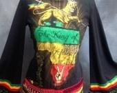 Rastafari art to wear stage top choli top Africa lion of judah top Rasta fashion