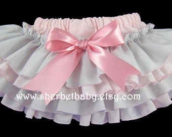 4 Ruffle Classic Style Pink & Gray Sassy Pants Ruffle Diaper Cover Bloomers with Bow