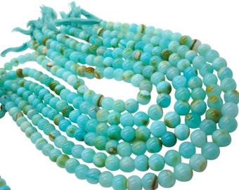 Blue Peruvian Opal Beads, Peruvian Opal Beads, Blue Opal Beads, Round, Aqua Gemstone, Wholesale Opal, SKU 4936