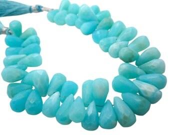 Peruvian Blue Opal Beads, Faceted Teardrops, Peruvian Opal Briolettes, Blue Opal Teardrop Briolette, Peruvian Opal Drops, SKU 4956