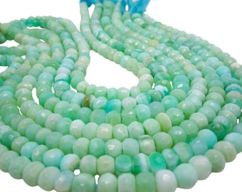 Peruvian Opal Beads, Peruvian Opal Beads, Green Opal Beads, Faceted Rondelles, 8mm, Aqua Gemstone, Wholesale Opal, SKU 4807