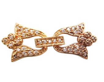 Heart Clasp, 18K Goldplated Fold Over Clasp, Cubic Zirconia Clasp, 34mm x 14mm x 5mm, SKU 5073