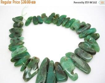 SALE Green Chrysoprase Beads, Chrysoprase Sticks, Free form shape, Australian Chrysoprase, SKU 4677